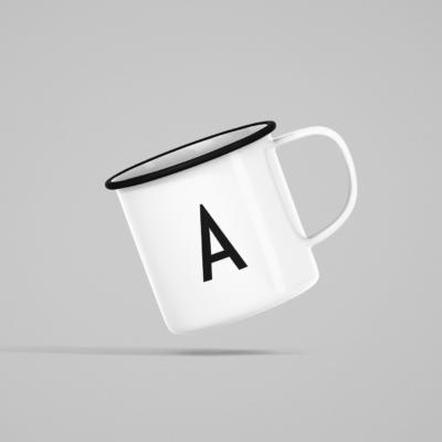 Emaille Tasse Weiß mit schwarzem Druck A