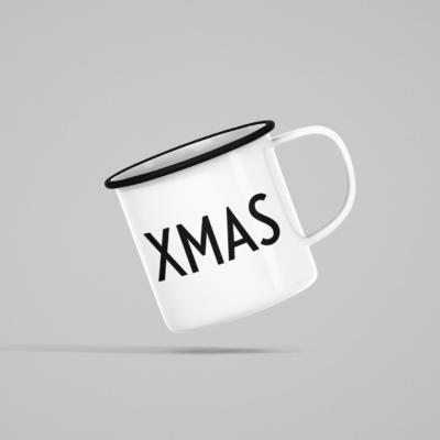 Emaille Tasse Weiß mit schwarzem Druck XMAS