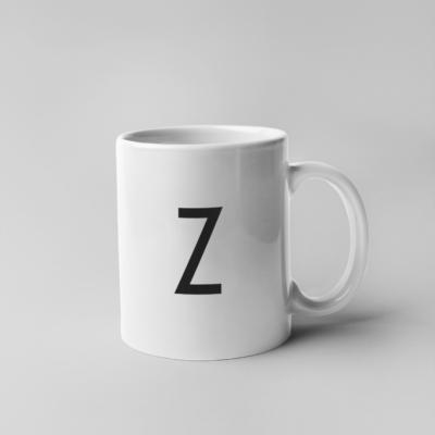 Keramik Tasse Weiß mit schwarzem Druck Z
