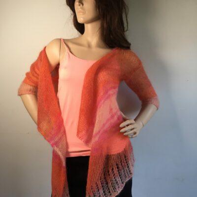 Seide-Mohair-Longeste orange-rose-melliert 3